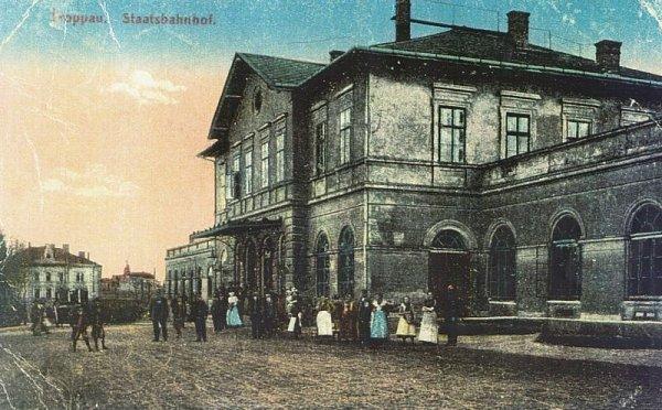 Pohlednice západního nádraží (tehdy nádraží Státní dráhy) po roce 1895.
