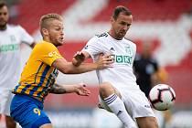 Brno - Zápas 6. kola fotbalové FORTUNA:LIGY mezi SFC Opava a MFK Karviná 25. srpna 2018 na Městském stadionu v Brně. Matěj Hrabina (SFC Opava).