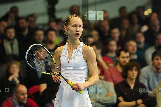 26. Mistrovství České republiky ve squashi vGalerii Harfa vPraze 4.března. Anna Sermeová.