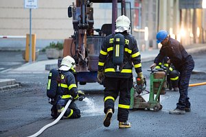 Zásah hasičů při úniku plynu v Opavě.