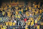 Zápas 26. kola Fortuna národní ligy SFC Opava - FK Dynamo České Budějovice 5. května 2018 v Opavě. Fanoušci SFC Opava.