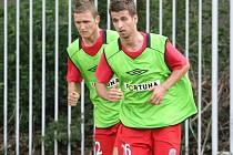 Milan Halaška (vlevo) na tréninku Zbrojovky Brno.