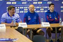 Tisková konference před utkáním Světové ligy volejbalistů proti Japonsku.