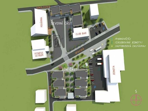 Vizualizace možného řešení nového centra obce vBolaticích.