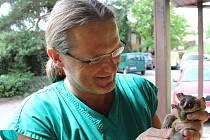 Radomír Hynar s nejnovějším přírůstkem minizoo - kombou ušatou.