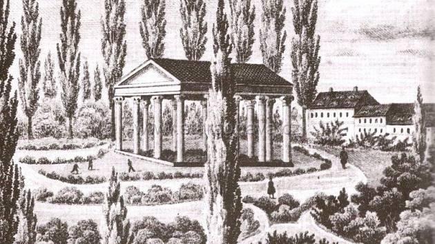 Litografie zroku 1860 zachycuje městské sady spomníkem starosty Johanna Josefa Schösslera.