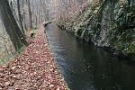 Vodní náhon Weisshuhnův kanál je technická památka. Listopad 2020.