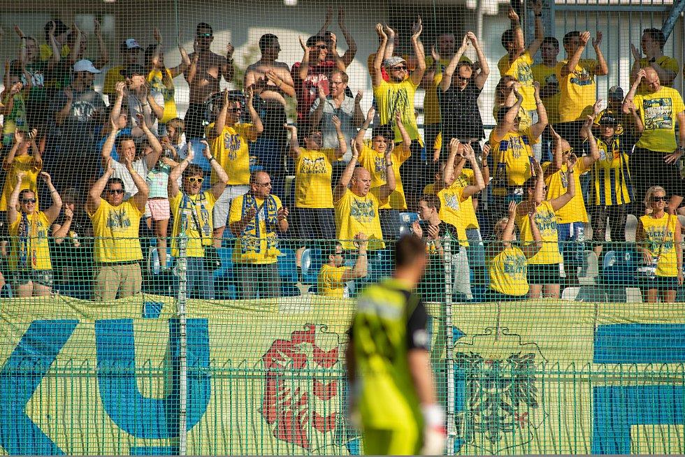 Mladá Boleslav - Zápas fotbalové FORTUNA:LIGY mezi FK Mladá Boleslav a SFC Opava 18. srpna 2018 v Mladé Boleslavi. Fanoušci SFC Opava.