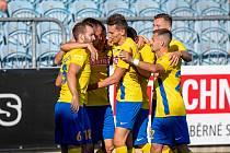 SFC Opava - MFK Výškov 1:0 (3. kolo F:NL, sobota 7. 8. 2021). Radost domácích.