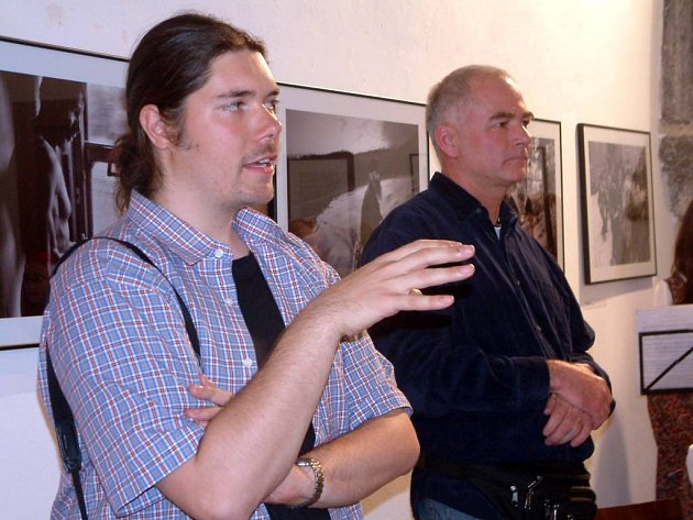 Martinu Wágnerovi (vlevo) zahajoval výstavu Na východ od ráje Vlastmil Kula (vpravo).