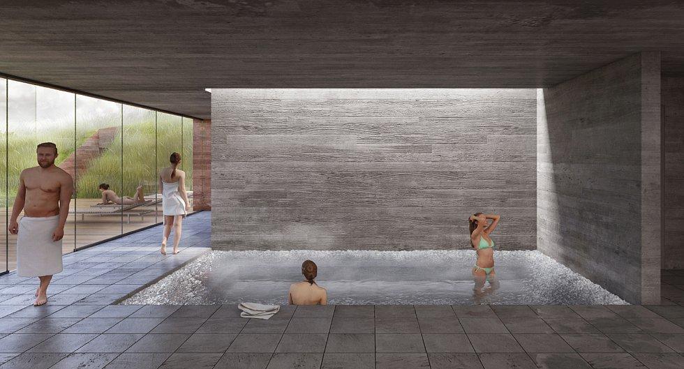 Pracovní varianta, jak by měl chystaný aquapark vypadat. Vizualizace.