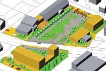 Vizualizace možného řešení nového centra obce v Bolaticích, které vzešlo z původních návrhů.