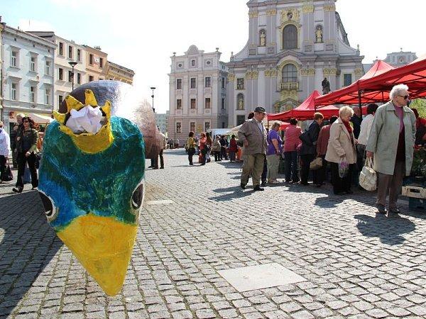 Ze sochy Špiona na Dolním náměstí se stal půvabný páv.