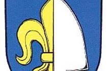 Stejný motiv poloviny zlaté lilie a půl stříbrné radlice na modrém pozadí má i prapor.