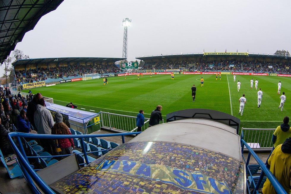 Opava - Zápas 13. kola fotbalové FORTUNA:LIGY mezi SFC Opava a 1. FK Příbram 27. října 2018. Stadion v městských sadech, Opava.