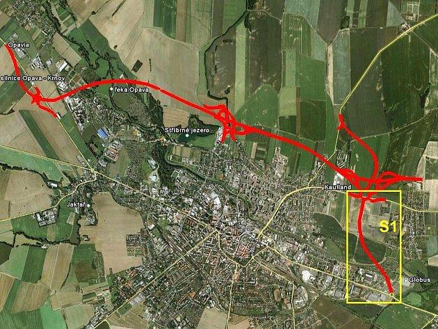 Mapka zachycuje Spojku S1 s návazností na obchvat města.