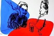 V hospodě – variace na českou vlajku dvě. Dílo Mariany Alasseuer.