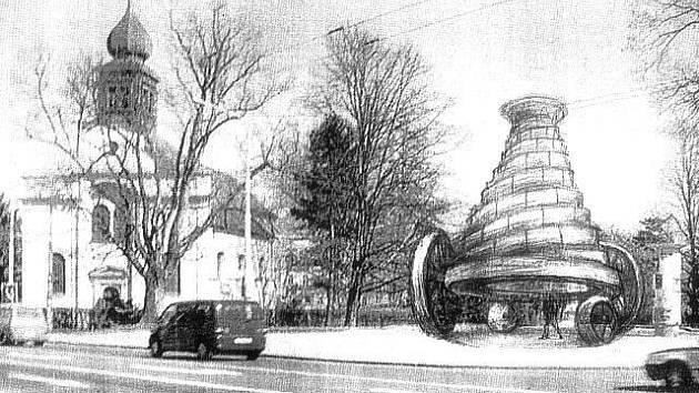 Archetypální stavba profesora Aleše Veselého Pohyblivý babel měla stát u frekventované křižovatky u Domu Petra Bezruče v místě, kde za komunistů stávala socha Gottwalda. Věž je vysoká 7 metrů, stojí na obrovských železných kolech.