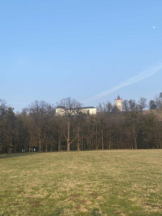Okolí zámku v Hradci nad Moravicí je ideálním místem pro jarní procházku. Březen 2021.