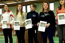 Zleva Eva Havranková (Slezan Opava), Sabina Hendrichová (Ostrava), Štěpánka Němcová (Liberec), Klára Remešová a Tereza Cigánková (obě Ostrava).