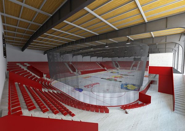 Vizualizace Zimního stadionu vOpavě podle návrhu bývalého reprezentačního kouče a předsedy občanského sdružení HC Slezan Aloise Hadamczika nový stadion svým interiérem je podobný těm zKanady. Rekonstrukce by měla stát okolo 120milionů korun.