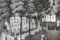 Budova kolem roku 1860 podle kresby Josefa Sinslera.