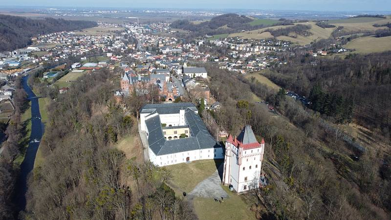 Moravskoslezský kraj, Hradec nad Moravicí pohledem z dronu.
