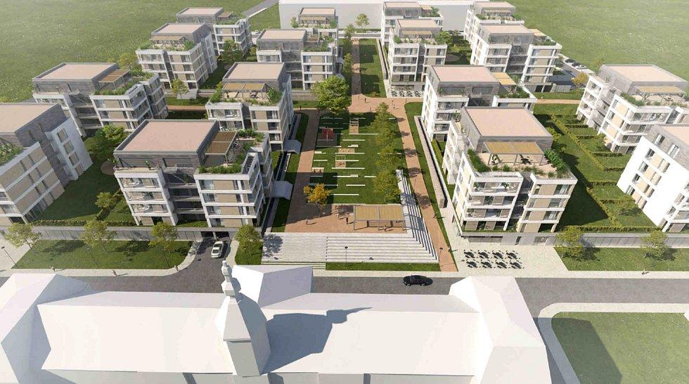 Takto by se měla proměnit prostřední část kasáren, kde vznikne šestnáct bytových domů.