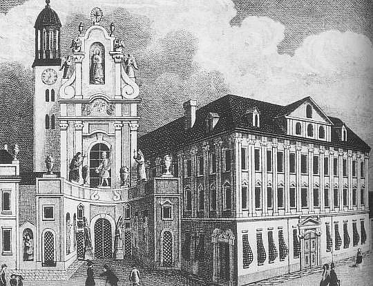 Podoba kostela s přilehlým klášterem z roku 1860.