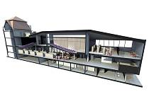Podélný řez dostavby univerzitní knihovny v areálu na Bezručově náměstí 14 podle architektonické studie ostravské společnosti OSA projekt.