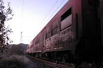Pondělní požár vlaku u Děhylova.