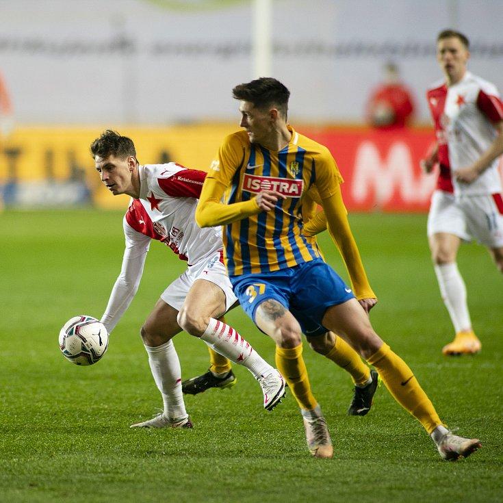 Praha - Zápas fotbalové FORTUNA:LIGY mezi SK Slavia Praha a SFC Opava 21. března 2021. Tomáš Čvančara (SFC Opava).