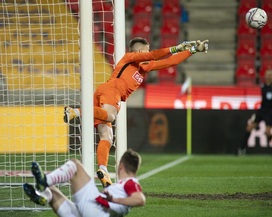 Praha - Zápas fotbalové FORTUNA:LIGY mezi SK Slavia Praha a SFC Opava 21. března 2021. Tomáš Digaňa (SFC Opava).