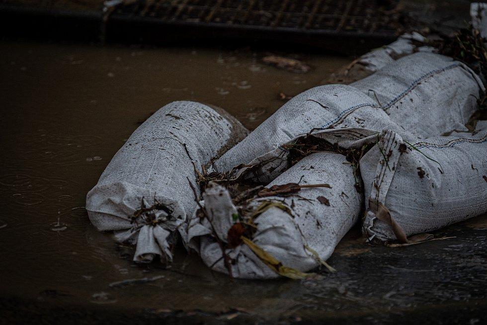 Šilheřovice - povodeň, stav před 19. hodinou večer, 13. května 2021.