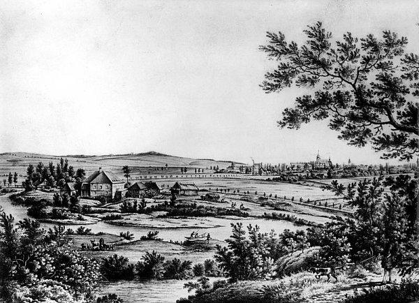 Na této litografii je historická podoba Hlučína, kde se pravděpodobně narodil vynikající barokní skladatel Pavel Josef Vejvanovský.