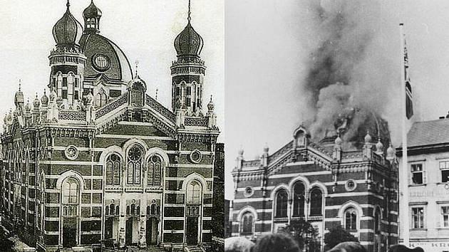 Vlevo: Opavská synagoga na dobové pohlednici přibližně z roku 1900 Vpravo: Požár v listopadu 1938.