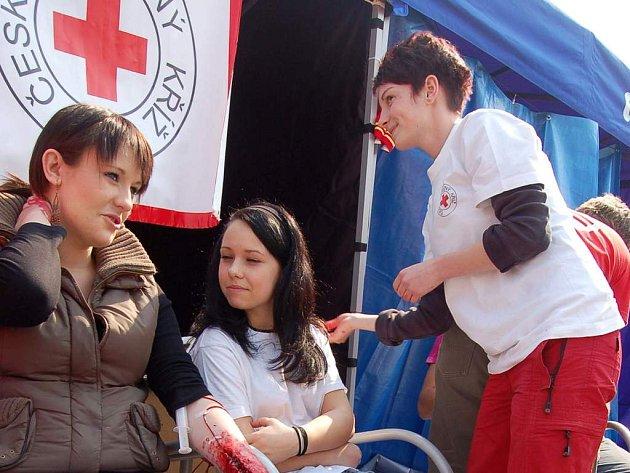 U stánku Červeného kříže si lidé mohli nechat změřit tlak