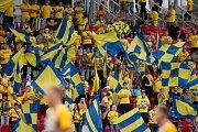 Brno - Zápas 6. kola fotbalové FORTUNA:LIGY mezi SFC Opava a MFK Karviná 25. srpna 2018 na Městském stadionu v Brně. Fanoušci SFC Opava.