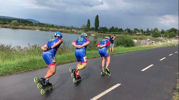 Členové opavského týmu LUIGINO na mistrovství České republiky v in line maratonu.