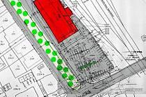Obchodní centrum na Dukelské ulici. Červený obdélník na nákresu představuje plánovaný supermarket. Pod ním je vidět parkoviště, které by mělo vzniknout v místě dnešního autobazaru.