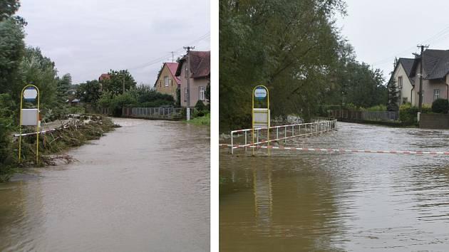 Rozlitá Opavice ve Městě Albrechticích. Snímek vlevo rok 2007, vpravo 2020.