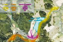 """Přeložka silnice bude rozdělena do dvou etap. Žlutě je vyznačena I. etapa - přeložka silnice ze Zátoru do N. Heřminov. Fialová je provizorní napojení v N. Heřminovech. Oranžová je II. """"tunelová"""" etapa. Má funkci obchvatu, ale s přehradou nesouvisí."""