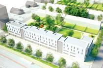 Areál nemocnice v Bruntále by takto vypadal po navrhované přestavbě. V popředí nová hlavní budova A,  po demolici objektu za ní výstavba rodinných domků. Toto je navrhovaná varianta s ordinacemi a stacionářem.