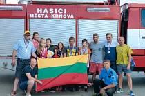 Partnerské město Telšiai v Litvě vyslalo do Krnova tým mladých hasičů.