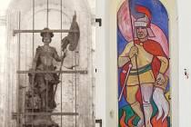 Historický svatý Florián z kapličky v Hošťálkovech  zmizel před dvaceti lety a zloděj se nikdy nenašel. Nového Floriána v těchto dnech vytváří Josef Odráška, který sochu nahradil mozaikou.