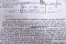 Žaloba z 28. ledna 1948 proti Emilii Klečkové z Krnova, kterou soudili za nepřekážení a neoznámení trestných podniků a nadržování zločinu.