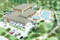Nové wellness centrum, které by mělo vyrůst v Krnově, jak ji krnovskému publiku představili projektanti.