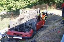 Dvě jednotky hasičů z Rýmařova zasahovaly v neděli ráno po osmé hodině v Horním Městě, místní části Rešov, kde osobní automobil Fiat Tipo přeletěl svodidla a skončil v hlubokém příkopu.