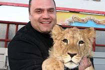 Lvíček Apollo se stal maskotem cirkusu Carini, který do 11. srpna hostuje v Krnově (na fotografii s principálem cirkusu Františkem Navrátilem). Hlavní atrakcí cirkusu je smečka lvů berberských, ve které jsou dospělé kusy i mláďata.