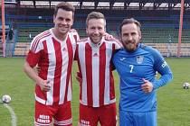 Bývalí tři ligisté v akci: Zleva Ondřej Kušnír, Jan Urban a Miroslav Matušovič
